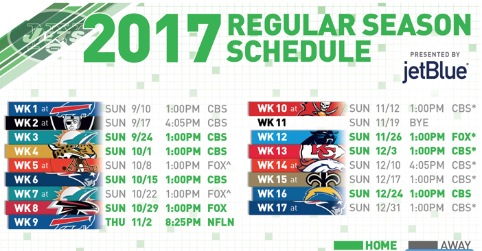 2017 NY Jets Schedule