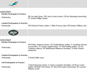 Jets \ Dolphins Injury Updates