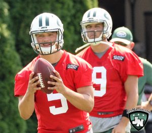 Head Coach Todd Bowles left the door open for either Christian Hackenberg (foreground) or Bryce Petty to win the Jets' back-up quarterback job.