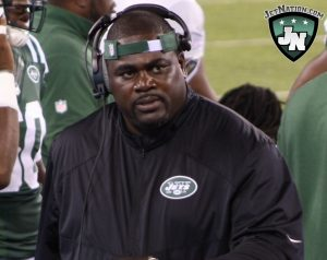 Jets Defensive line coach Pepper Johnson has a project on his hands with Harris along the D-line.