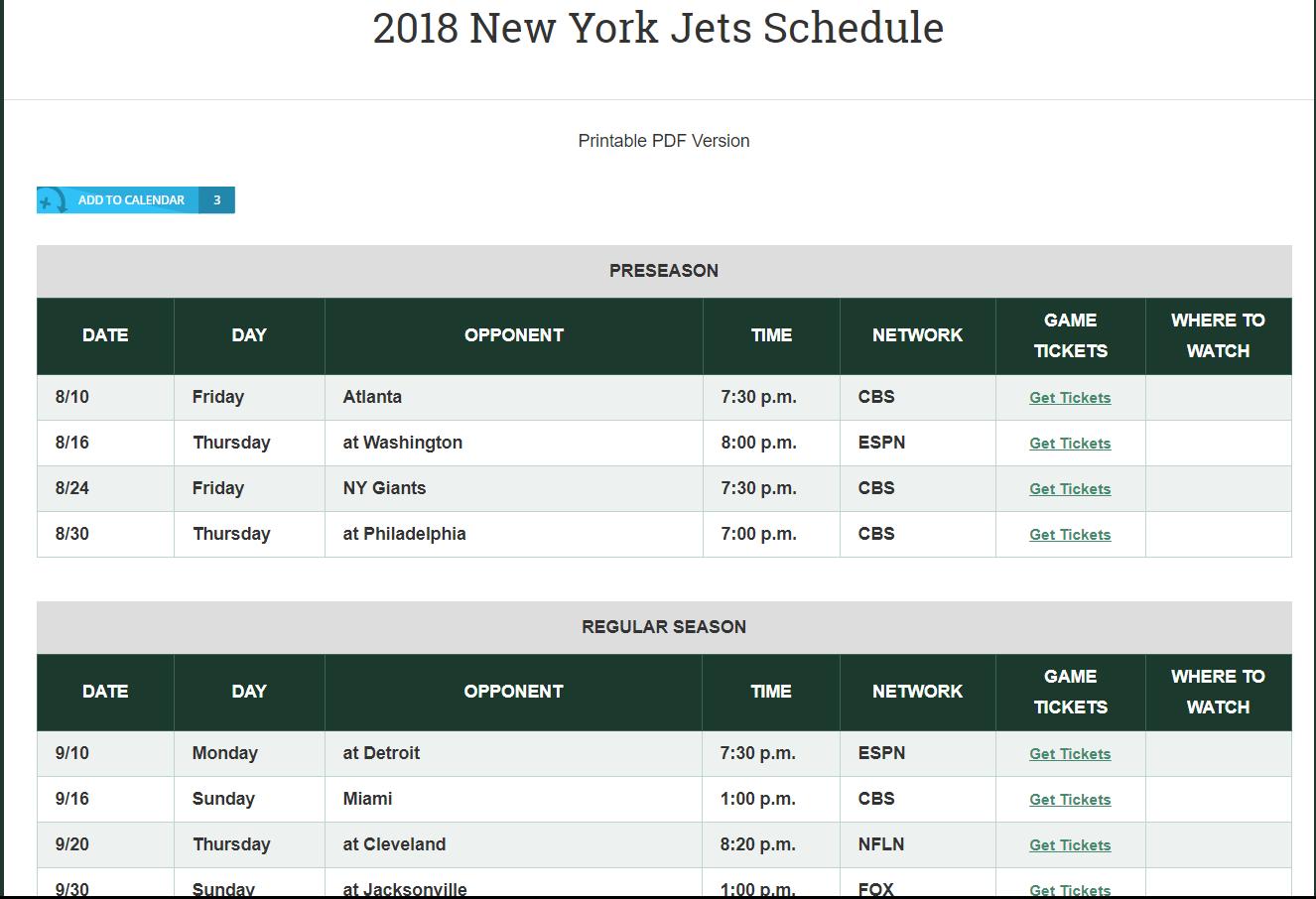 jets schedule