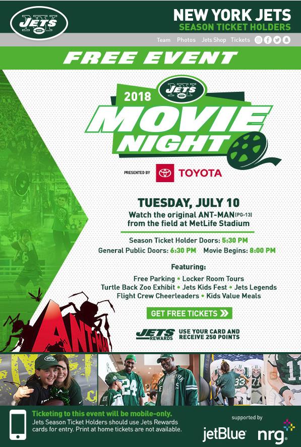 Jets Movie Night at Metlife Stadium