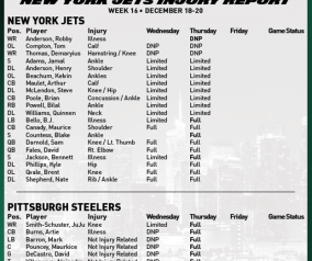Injury Updates with the Steelers Coming to Town