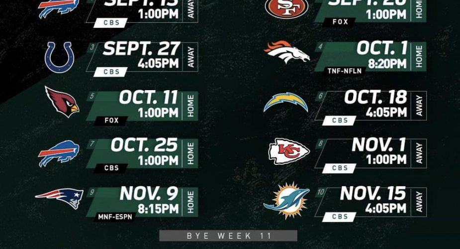 2020 NY Jets Season Schedule