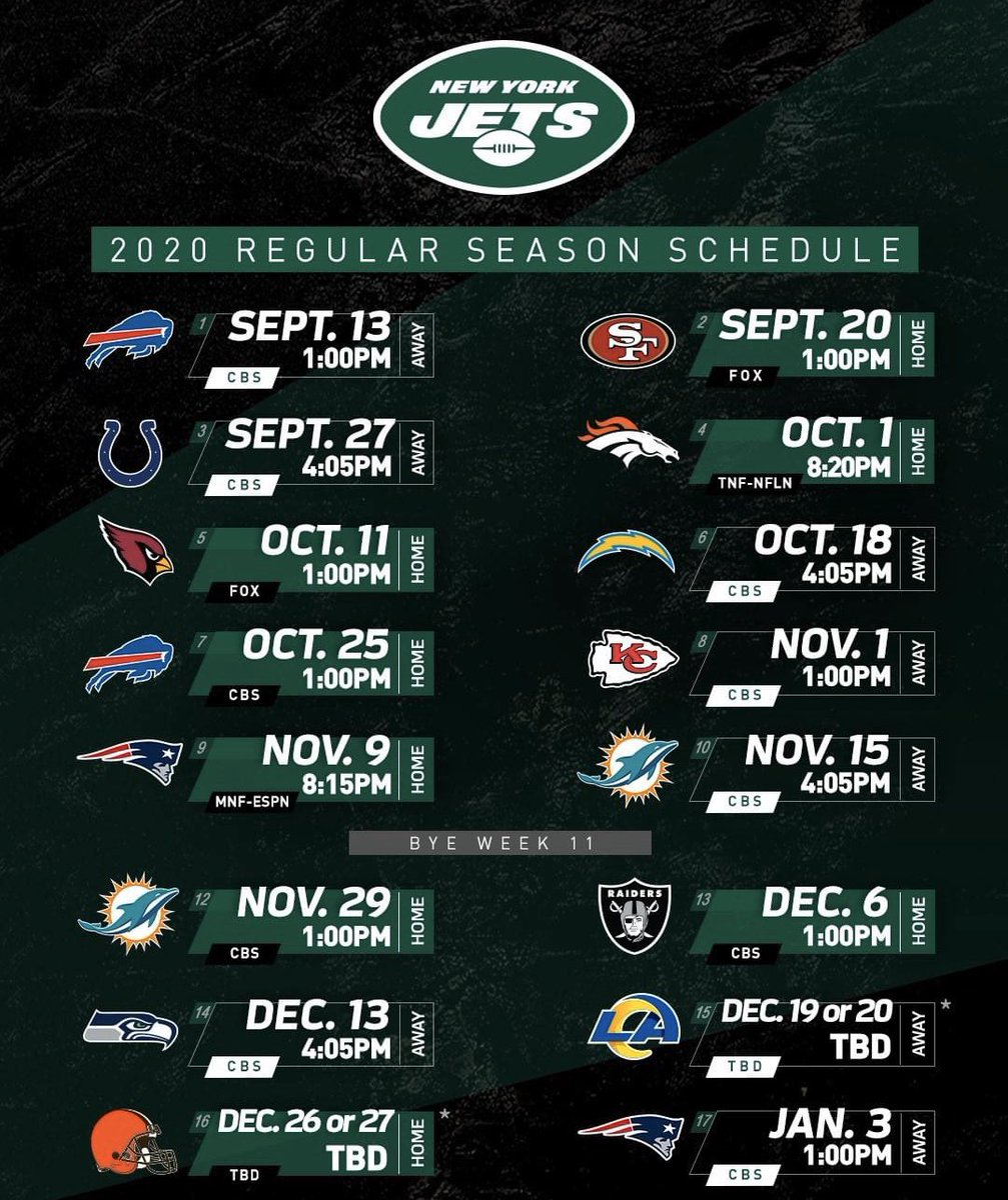2020 NY Jets Schedule