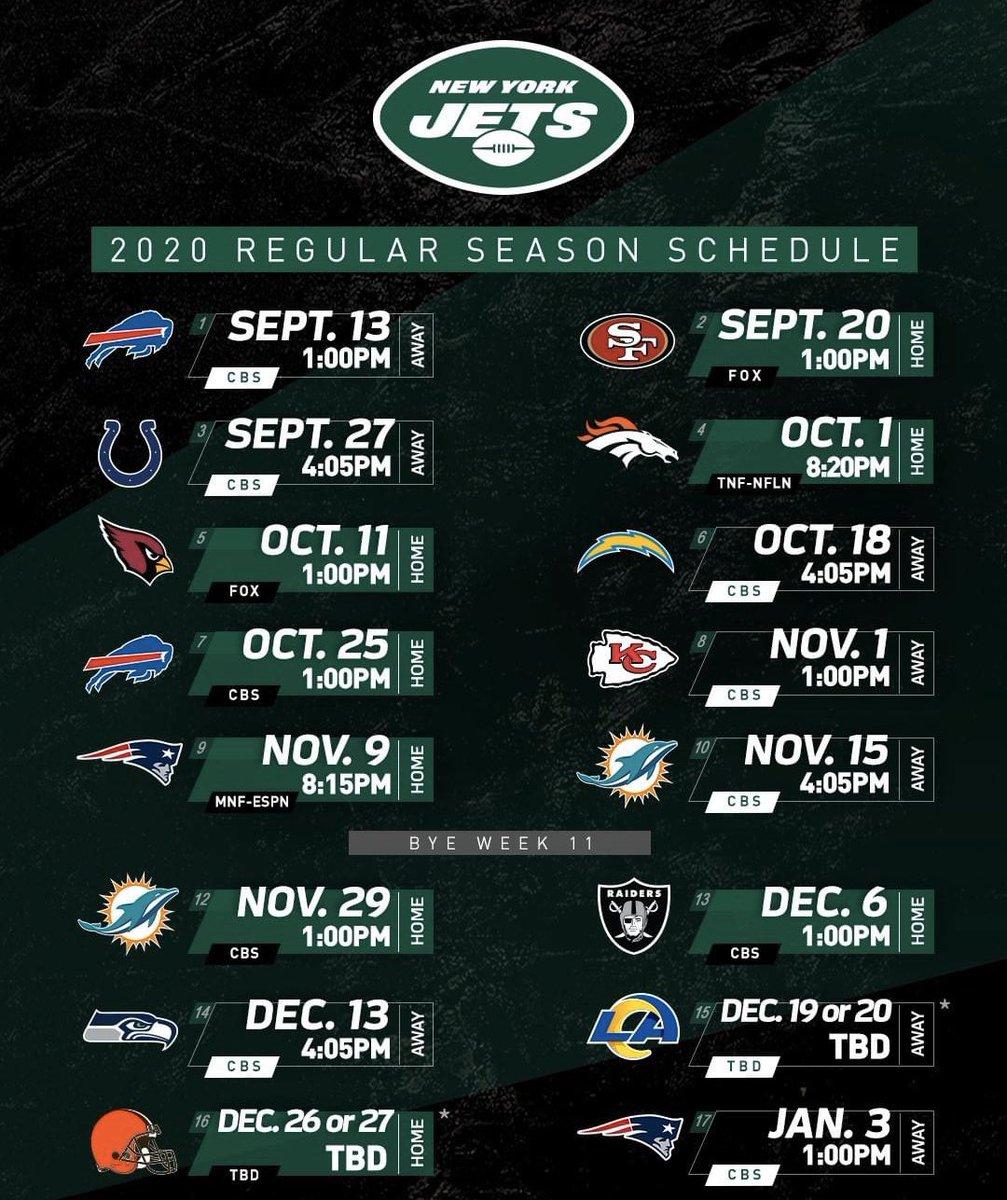 2020 Jets Schedule