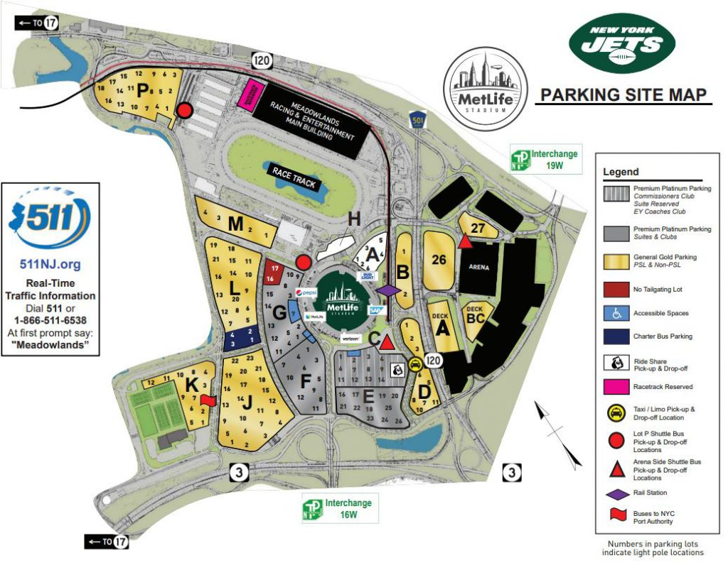 New York Jets Parking Map