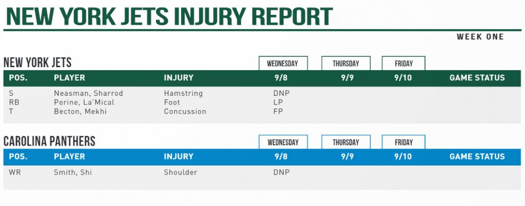 Y Jets Injury Report
